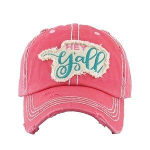 Accessories - Hey y'all embroidered baseball hat 3 colors